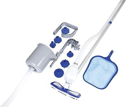 Bestway 8320510 8320510-Kit Mantenimiento limpiafondos con Cesta y pértiga, Azul, 113x28x24 cm