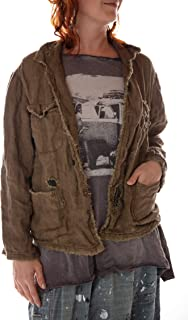 Magnolia Pearl Woven Cotton Buffalo Soldier Jacket with Mending, Distressing and Patching, Peace, One Size