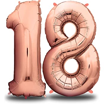 envami Folienballon Zahl I Geburtstagsdeko Rosegold I 100cm I Deko zum Geburtstag I Luftballon Zahlen Dekoration I Happy Birthday I Fliegt mit Helium (Zahl 18)