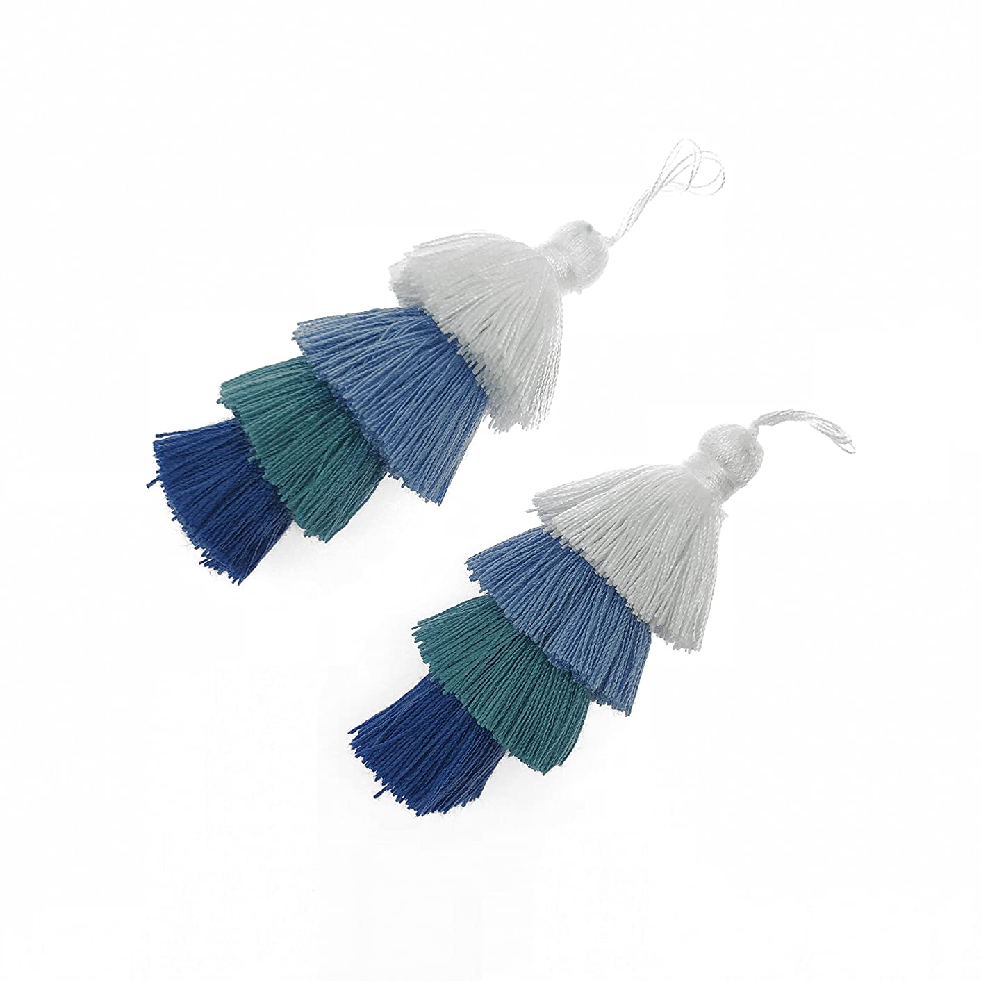 CHENGRUI 8CM 4 Layer Cotton Tassels For Jewelry Making, Diy, Jewelry Accessories, Pack of 2 Pcs