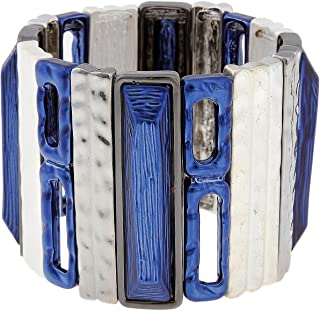 Silvertone Indigo Blue Trifecta Mixed Rectangles Stretch Bracelet