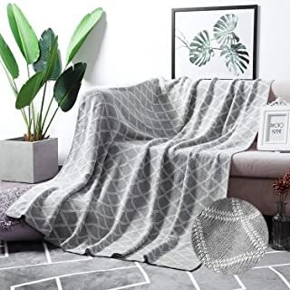 """MoMA 100% Cotton Light Grey Cable Knit Throw Blanket for Couch Bed Sofa Chair, Gray White Stripe Reversible Decorative Knitted Blankets,51""""x 63"""" Size"""