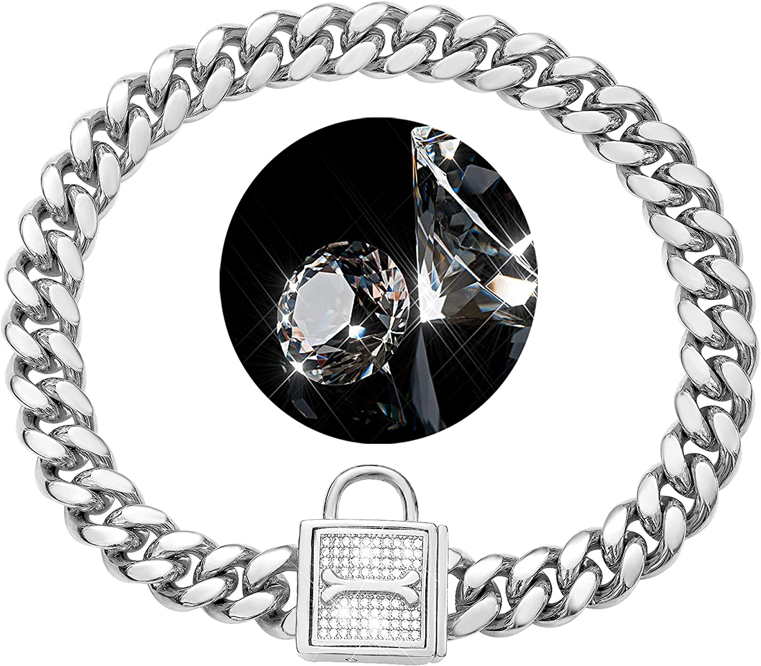 PRADOG Chain Dog Collar with Locking High Zirconia Max 77% OFF New product! New type 12mm Polished
