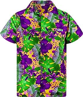 Funky Hawaiian Shirt Men Shortsleeve Frontpocket Hawaiian-Print Leaves Flowers Allover
