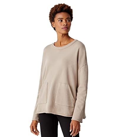 Eileen Fisher Organic Cotton French Terry Crew Neck Boxy Tunic (Khaki) Women
