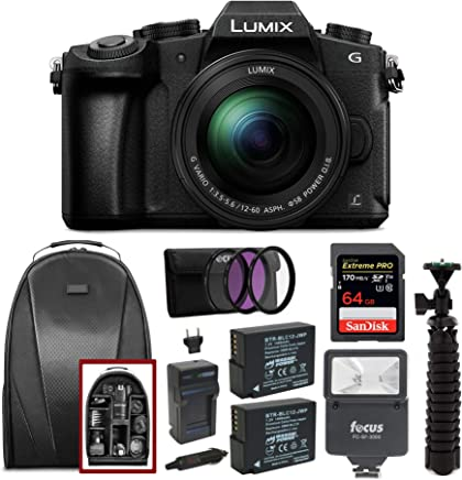 $799 » Panasonic LUMIX G85MK 4K Mirrorless Interchangeable Lens Camera Kit, 12-60mm Lens, Sandisk 170MB/s 64GB, 2 Spare Batteries, Charger, Backpack, Spider Tripod, Filter Kit, and Flash Bundle