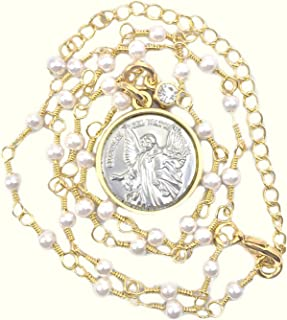CB Vintage Blessing Two Toned Guardian Angel Medal Pendant Necklace for Woman or Girl on 16