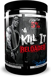 Rich Piana 5% Nutrition Kill It Reloaded Pre Workout (Blue Raspberry) 18oz (513 Grams) 30 Servings