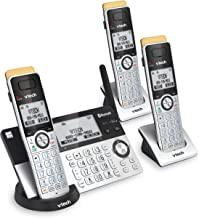 تلفن بی سیم VTech IS8151-3 Super Long Range 3 Handset DECT 6.0 برای خانه با دستگاه پاسخگو ، برد 2300 فوت ، مسدود کردن تماس ، بلوتوث ، جک هدست ، پشتیبان گیری از برق ، اینترکام ، قابل ارتقا تا 12 HS