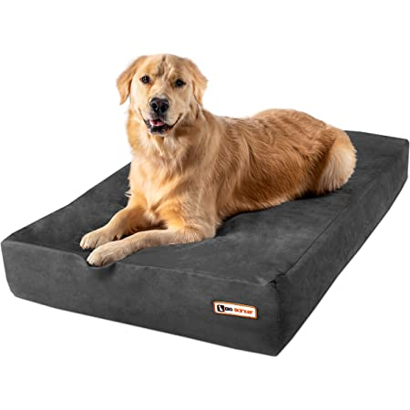 """Big Barker 7"""" Pillow Top Orthopedic Dog Bed for Large and Extra Large Breed Dogs (Sleek Edition) (Large (48 x 30 x 7), Charcoal Gray)"""