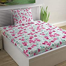 Divine Casa 100% Cotton Floral Single Bedsheet with 1 Pillow Cover- Pink
