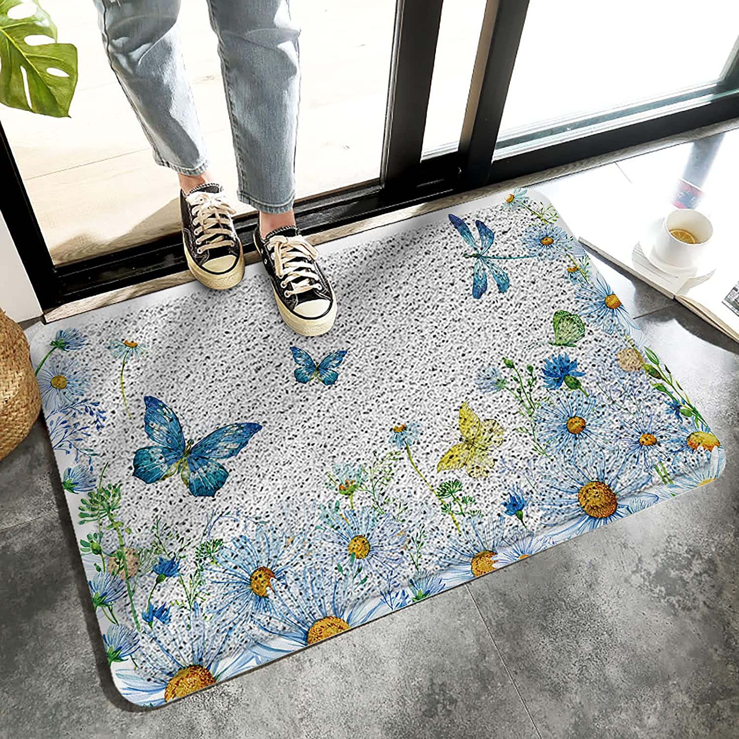 Welcome Door National uniform free shipping Mat for Rare Outdoor Watercolor Daisy Decor Blue Indoor