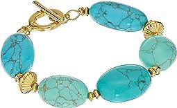 "LAUREN Ralph Lauren Paradise Found 7 1/2"" Turquoise Nugget Bead Bracelet"