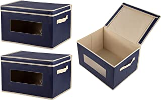 Juvale Storage Bins - 3-Pack Foldable Storage Cubes, Decorative Fabric Storage Bins with Lids and Clear Windows, Household Organization, Closet, Office Supplies, Navy Blue, 16.25 x 12 x 10 Inches