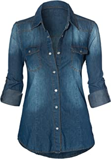 a37fc7a13f5 HOT FROM HOLLYWOOD Women s Button Down Roll up Sleeve Classic Denim Shirt  Tops