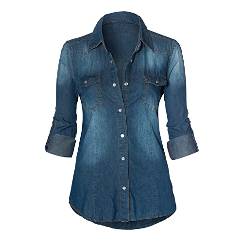 07e89e637 HOT FROM HOLLYWOOD Women's Button Down Roll up Sleeve Classic Denim Shirt  Tops