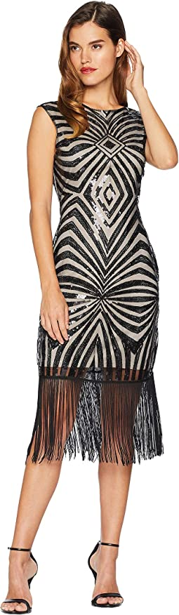 Sequin & Fringe Sandrine Flapper Dress
