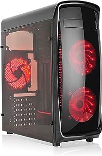 L-link KAZUMI - Caja ATX con 4 Ventiladores y Ventana, Color Negro