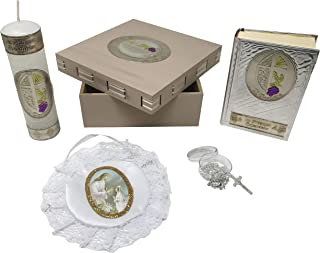 Arcángeles Mexicanos Premium Catholic First Communion Kit in a Wooden Box with Candle, Rosary, Bible (Spanish) and Almoner for Girls. Handmade in Mexico Gift for Godparents. Kit de Primera Comunión.