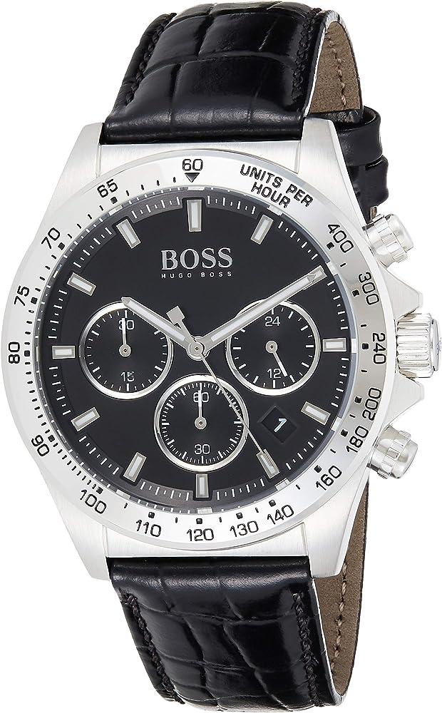 Boss, orologio, cronógrafo da uomo ,cassa in acciaio inossidabile,e cinturino in vera pelle 1513752