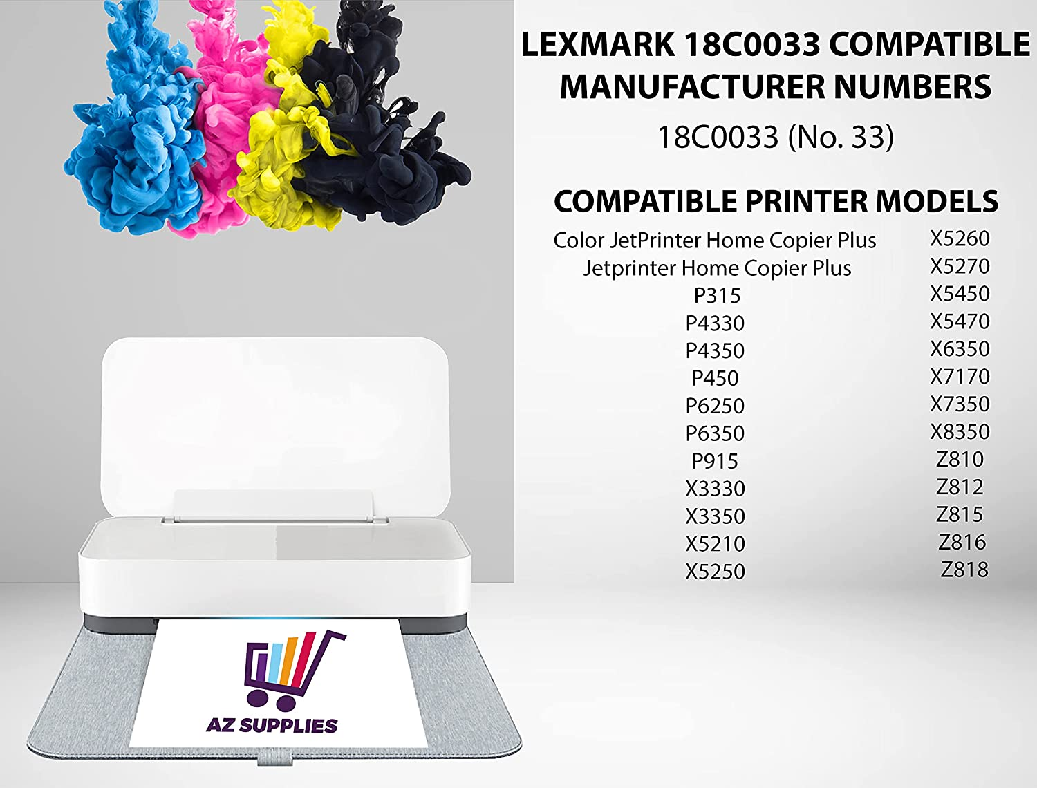 AZ Supplies Compatible Inkjet Replacement for Lexmark 18C0033 (No. 33) use in Color JetPrinter Home Copier Plus P315 P4330 P6250 P6350 X3350 X5250 X5270 X5470 X6350 X7170 Z816 Z818 (Color - 2 Pack)