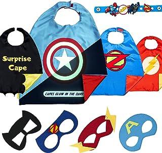 Disfraz De Superhéroes para Niño - Regalos De Cumpleaños para Niña - 4 Capas Y Máscaras - Juguetes para Niños Y Niñas - Logo Brillante de Captain America