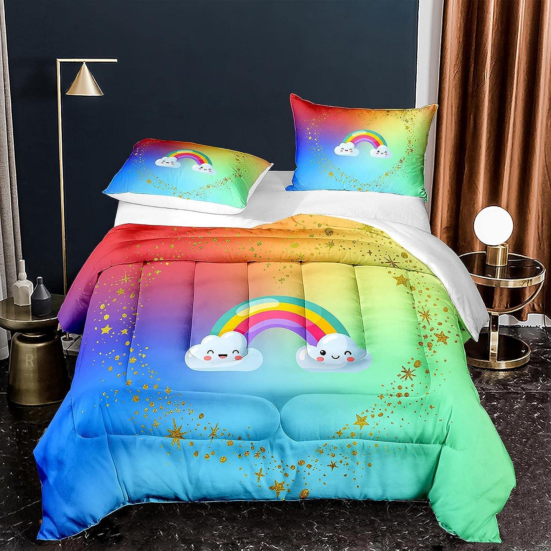 NINENINE Rainbow Comforter Set San Francisco Mall Twin Boys Teens,3D Max 63% OFF Rai Size for