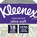 Kleenex Expressions Facial Tissues, 18 Cube Boxes (65 Tissues per Box)