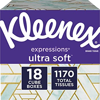 Kleenex Expressions Facial Tissues, 18 Cube Boxes (65 Tissues per Box)