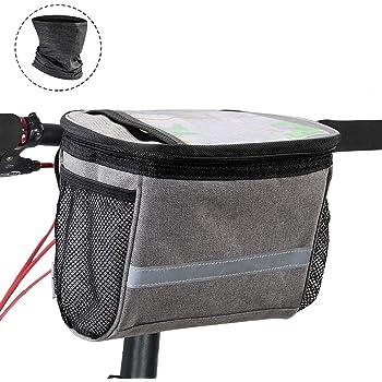 Rhinowalk Bike Basket,Bike Handlebar Bag,Bike Front Bag Bike Frame Bag-Cold & Warm Insulation - Reflective Strap - Touchable Transparent Phone Pouch for Cycling