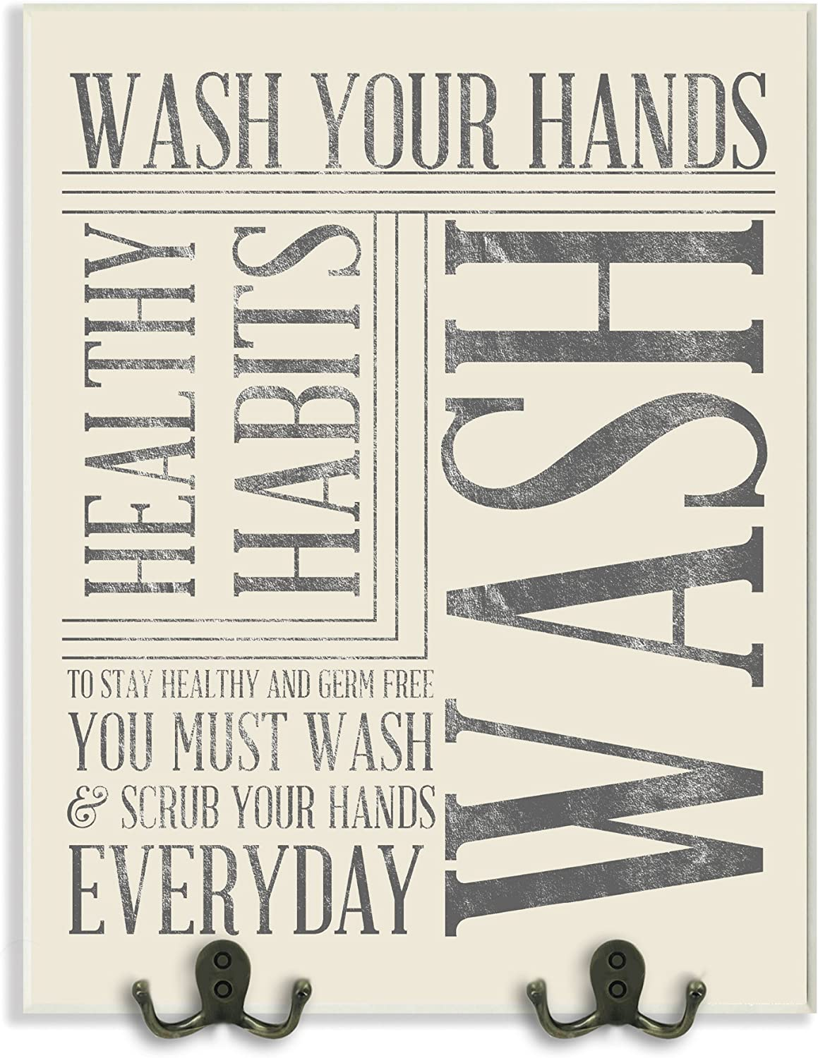 The Stupell Home Decor Collection Wash Your Hands Typography Bathroom Two Metal Hooks Wall Plaque
