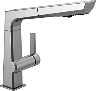 Delta Faucet Pivotal Single-Handle Kitchen Sink Faucet with Pull Out Sprayer, Arctic Stainless 4193-AR-DST
