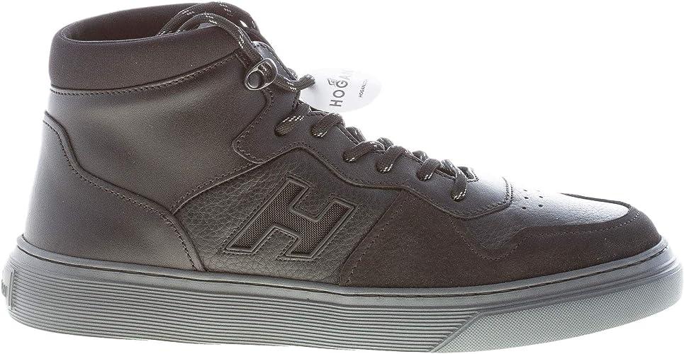 Hogan Uomo H365 Sneaker Modello Basket in Pelle e Nabuk Nero ...