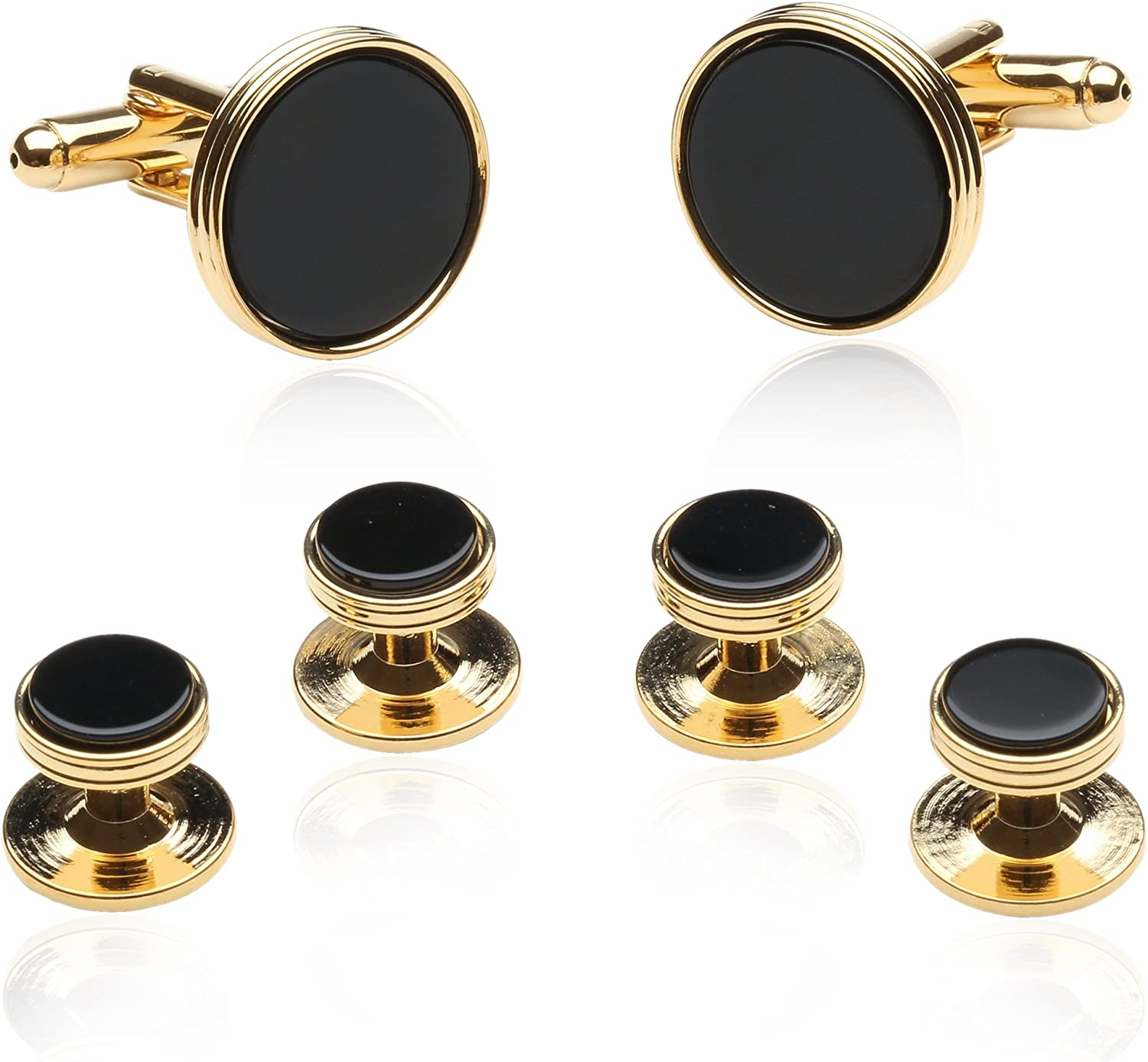 Cuff-Daddy Black Onyx and Gold Tone Cufflinks and Studs with Presentation Box Unique Men Cufflinks for Wedding Anniversary Special Occasions Jewelry Presentation Box
