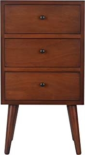 Décor Therapy Mid Century Three Drawer Wood Side Table, Light Walnut