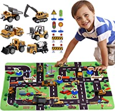 SunbriloStore Construction Vehicles Truck Toys with Playmat,Vehicles Toy Play Set with a Kid Play Car Rug,Engineering Vehicle Toys with 6 Trucks Construction Site, 6 Traffic Sign ,Road for Kids