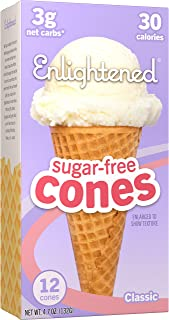 ENLIGHTENED ICE CREAM Sugar-Free Ice Cream Cones - Vegan Friendly, Sugar Free, Dairy Free - Low Calorie (30 Calories) - Lo...