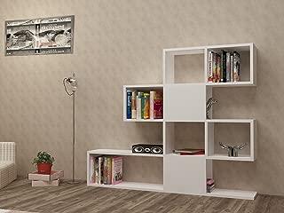 Decorotika Karlin 3.6' Room Divider Storage Standing Shelving Unit/Bookcase for Small Living Room (White)