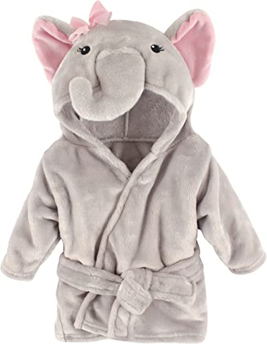 Hudson Baby Unisex Baby Plush Animal Face Robe, Pretty Elephant, One Size, 0-9 Months