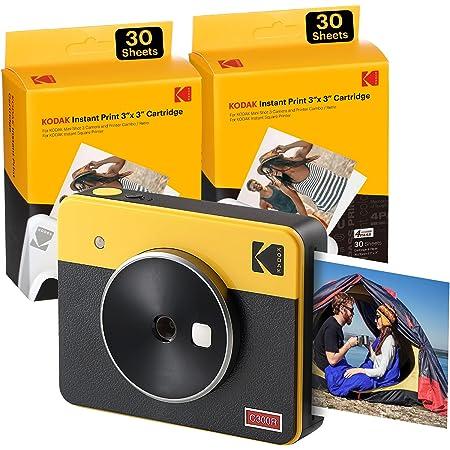 Kodak Mini Shot 3 Retro, camara instaneae e impresora fotos movil, iOS e Android, Bluetooth, Tecnologia 4Pass, 76x76mm -Giallo- 68 Fogli