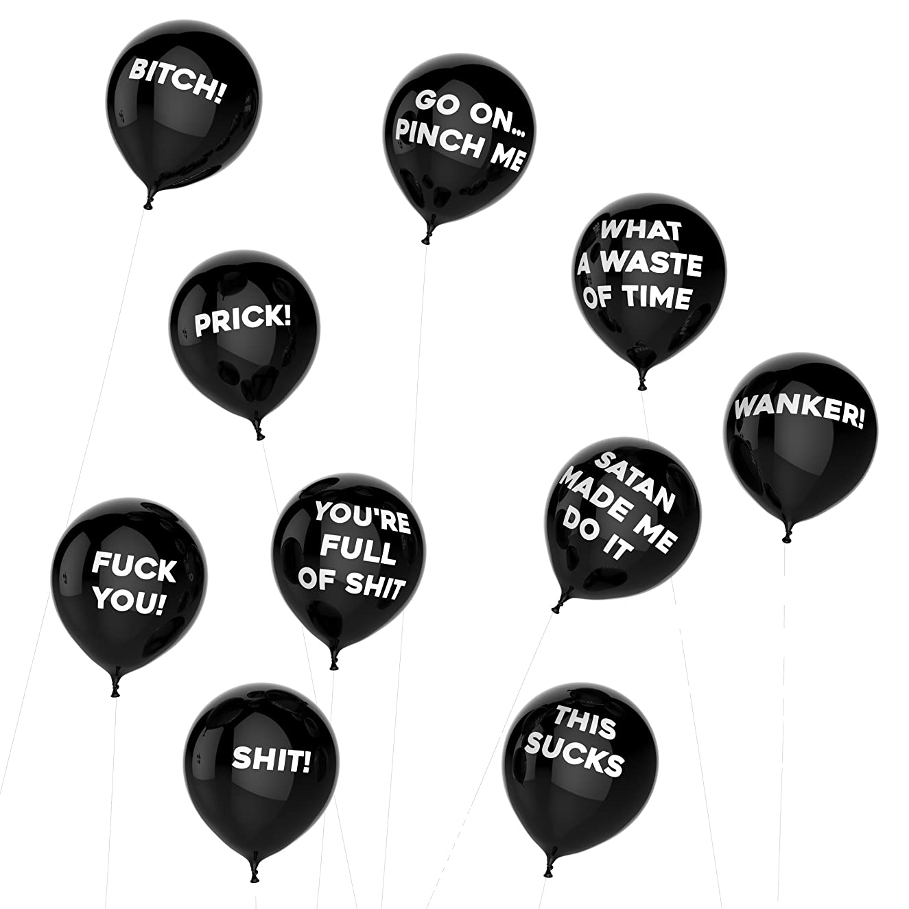 Thick Air Balloons - Funny Adult Humour Balloons For Party 10-Pack - General Black