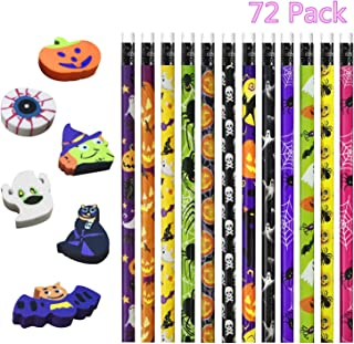 U-Goforst 72 Pack Halloween Pencils and Erasers for Halloween Party Favors Trick Or Treat, Game Prizes, Classroom Rewards,, Halloween Goodies Bags Filler, 18 Different Designs