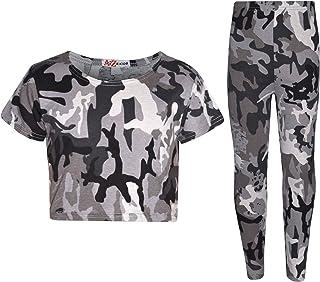 A2Z 4 Kids Girls Tops Kids Designer's Camouflage Print Trendy Crop Top Legging Set 7-13 Yr