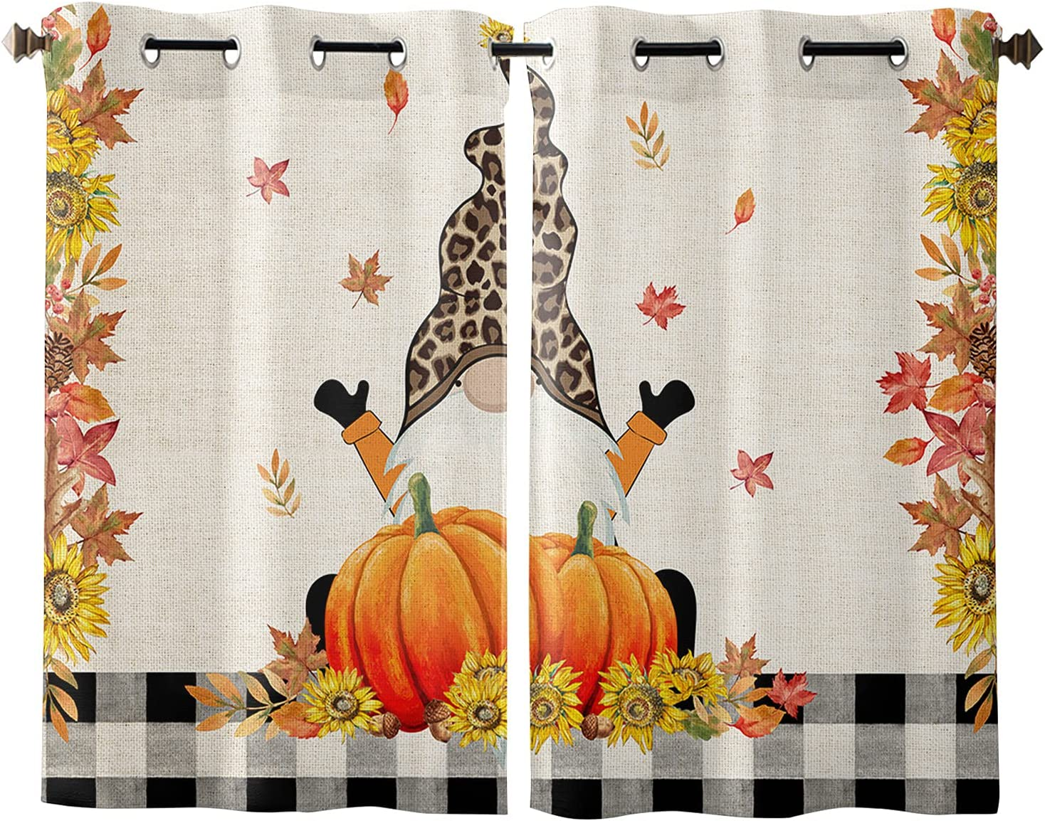 Popularity Window Curtains with Grommet Excellence Top Pumpkin Thanksgiving Gnome Fall