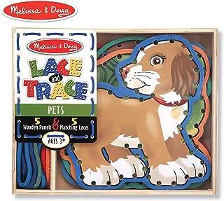 Melissa & Doug Lace & Trace Activity Set: Pets (5 Wooden Panels and 5 Matching Laces)