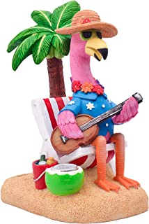 TERESA'S COLLECTIONS 7.3 Inch Hawaii Pink Flamingo Garden Statues with Solar Powered Lights, Adorable Tropical Yard Sculpt...