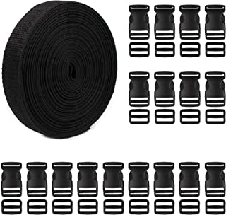 Tugaizi 1 Inch Plastic Buckles Kit Include 20 pack Plastic Buckles Flat Side Release Buckles and 11 Yards Nylon Webbing Straps Band for DIY Making Luggage Strap, Pet Collar, Backpack Repairing