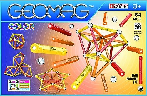 Geomag - Classic 262 Color, Constructions Magnétiques et Jeux Educatifs, GMC02, Orange/Rouge/Jaune, 64 Pièces