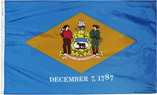 Annin Flagmakers Model 140860 Delaware State Flag 3x5 ft. Nylon SolarGuard Nyl-Glo 100% Made in USA to Official State Design Specifications.