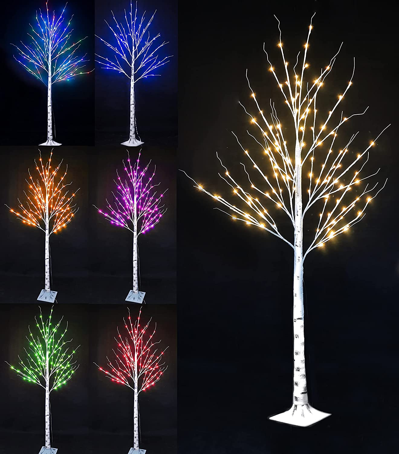 In a popularity 16 Color Factory outlet Changing Lit Birch Tree Lighted 5 FT Multicolor Artifi